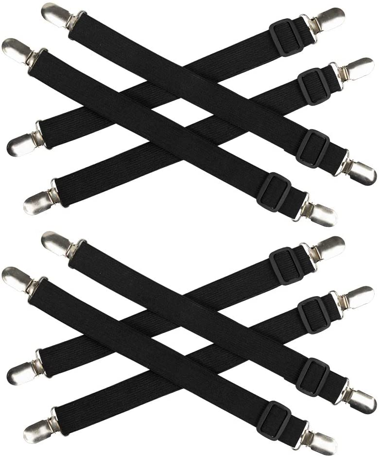 Ayniff 8 Packs Elastic Bed Sheet Straps Suspenders Adjustable Bed Corner Holder Fasteners Heavy Duty Grippers Straps to Keep Your Sheet in Place and Neat
