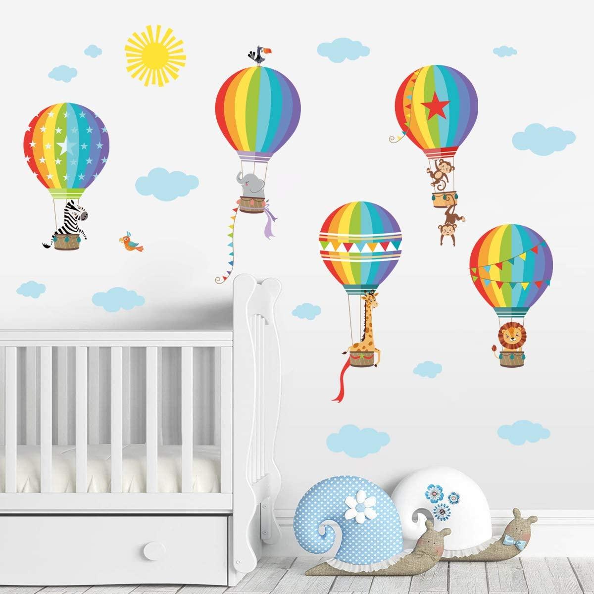 decalmile Rainbow Hot Air Balloon Wall Decals Animals Monkey Giraffe Elephant Wall Stickers Baby Nursery Kids Bedroom Playroom Wall Decor