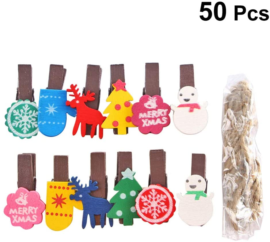 Amosfun 50pcs Christmas Wood Clips Birch Wood Clothespins Mini Pegsnote Memo Card Picture Holder with Hemp Rope for Xmas Tree Wall Door Decor