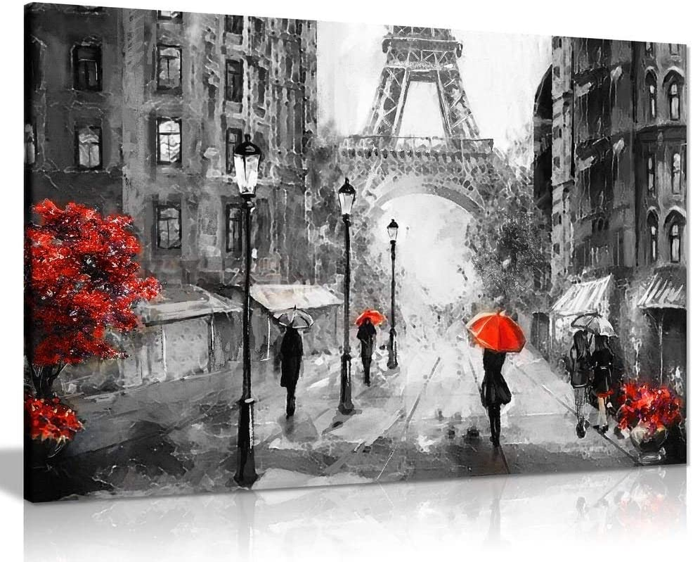 Black White Red Oil Painting Paris Eiffel Tower Street View Canvas Wall Art Picture Print (30x20)