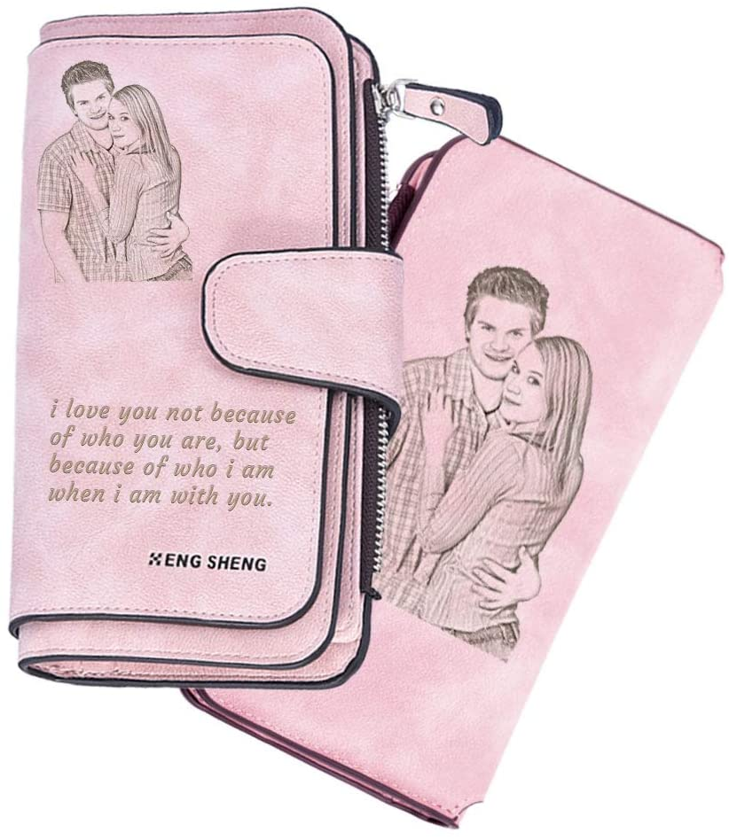 Women Custom Wallet Personalized Leather Wallet Girlfriend Gift Ladies Wallet (Pink)