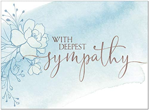 25 Sympathy Cards - Floral Watercolor Design with Copper Foil Embossing - 26 White Envelopes - FSC Mix
