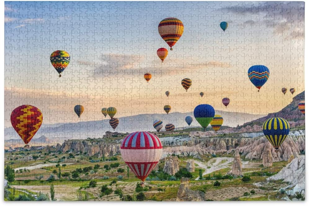 Oreayn Hot Air Balloon Flying Over Cappadocia Turkey Jigsaw Puzzles for Kids Adults 500 Pieces Multi Color