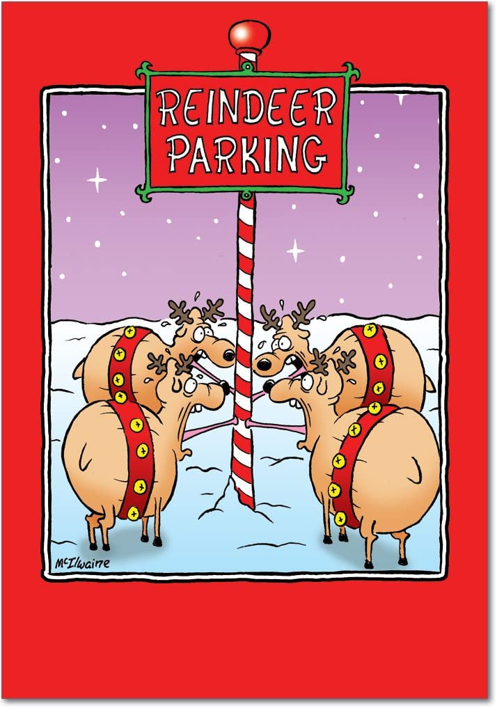 12 'Reindeer Parking' Boxed Christmas Cards with Envelopes 4.63 x 6.75 inch, Hilarious Reindeer and Frozen Pole Cartoon Christmas Notes, North Pole Holiday Notes, Funny Christmas Stationery B5894