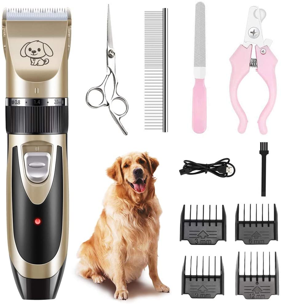 Grepol Professional Dog Clippers, Low Noise Pet Grooming Kit with Rechargeable Cordless Battery, Electric Shaver Cat Hair Trimmers Tools with Nail Shears Scissors for Small Large&Thick Coats Animal.