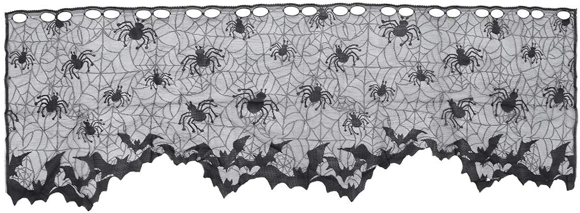 BESTOYARD Halloween Lace Window Curtain Spider Web Bats Door Curtain Lampshade Fireplace Cloth Decor for Spooky Halloween Ghost Festival Party Decoration(Black)