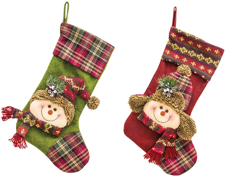 Hanna's Handiworks Cheerful Snowman Red Green Plaid 17 x 10 Fabric Christmas Stockings Set of 2