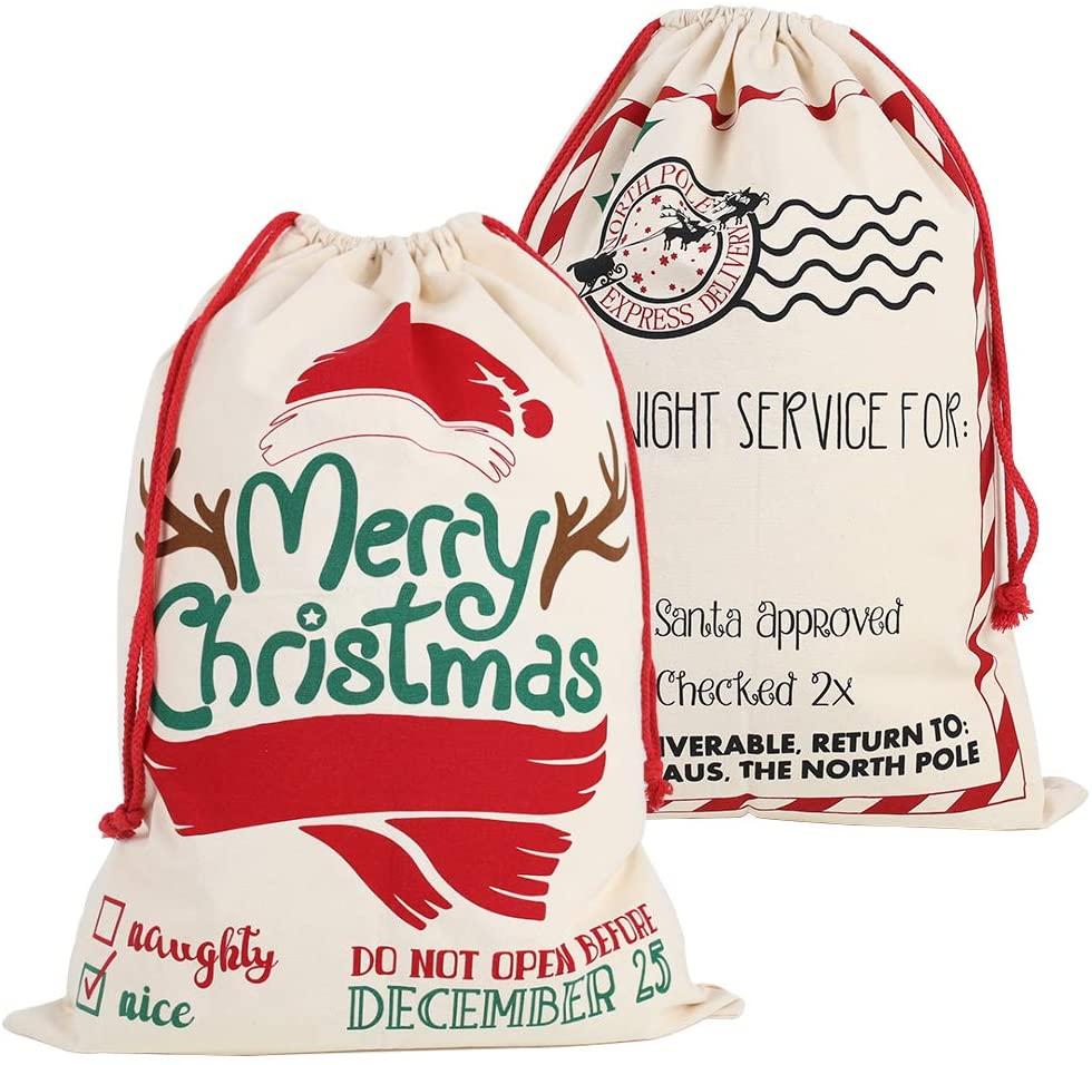 3 otters Christmas Santa Sack, 2PCS Personalized Santa Sack Bag Christmas Bag Santa Sack Canvas Bag, Large Size 26.8x19.3