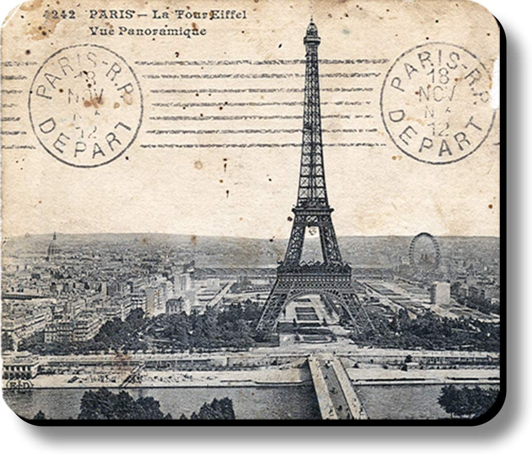 Computer Mouse Pad Art Print Eiffel Tower Paris Stamped Postcard 9.25 x 7.75 x 1/4 in Thick Non Slip Backing