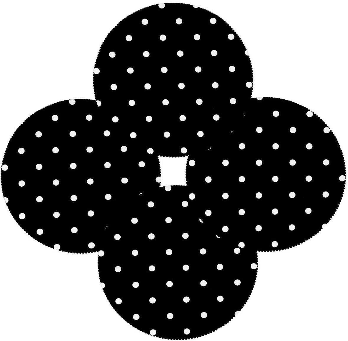 FCZ White Black Polka Dot Set of 4 Round Place Mats Heat-Resistant Table Mat Washable Stain Resistant Anti-Skid Polyester Placemats for Kitchen Dining Decoration
