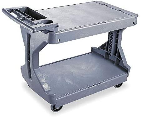 Polyethylene Raised Handle Utility Cart, 400 lb. Load Capacity, Number of Shelves: 2