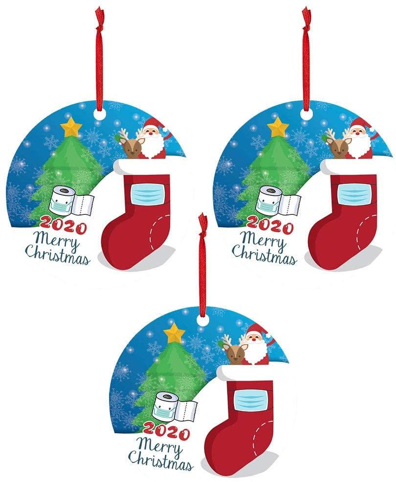 RINGMOHD 3 Pcs 2020 Christmas Ornaments Friends Gift, Holiday Xmas Tree Decorations Ornament, Social Distancing Funny Novelty, Wood Holiday Decor (Multicolor-N)