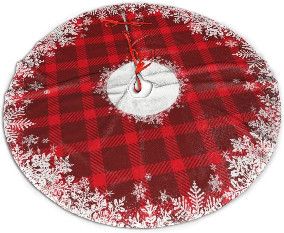 Jim Hugh Christmas Tree Skirt - Rustic Tartan Plaid Snowflake Pattern 30 Inches Polyester Xmas Tree Mat, Christmas Ornaments Tree Decor for Xmas Thanksgiving Holiday Home Party