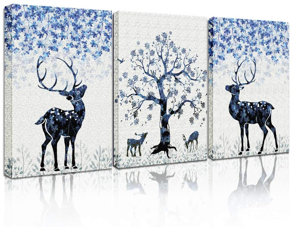 3 piece Framed Canvas Wall Art paintings for Living Room bathroom Wall decor modern kitchen Wall Pictures Artworks Bedroom Decoration deer Canvas Prints inspiration posters Artwork for home walls