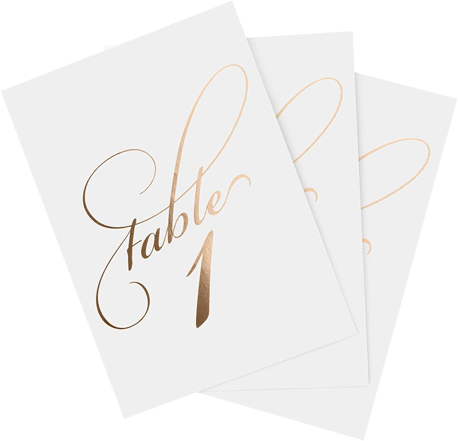 Bliss Collections Table Numbers with Head Table Card, Rose Gold Foil Stamped, Double Sided, 4x6 Calligraphy Design for Wedding, Reception, Party, Events, Celebrations - Made in The USA (1-40)