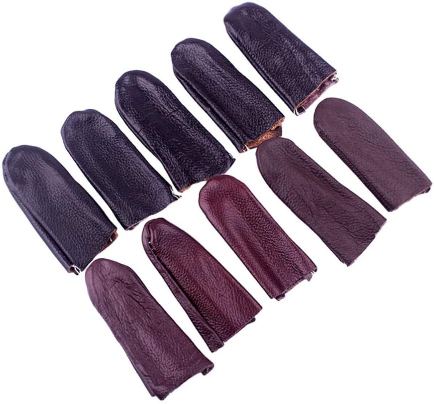 Exceart 10pcs Leather Finger Protector Hand Finger Cap for Hot Glue Wax Rosin Scrapbooking Leather Sewing Tool (Random Color)