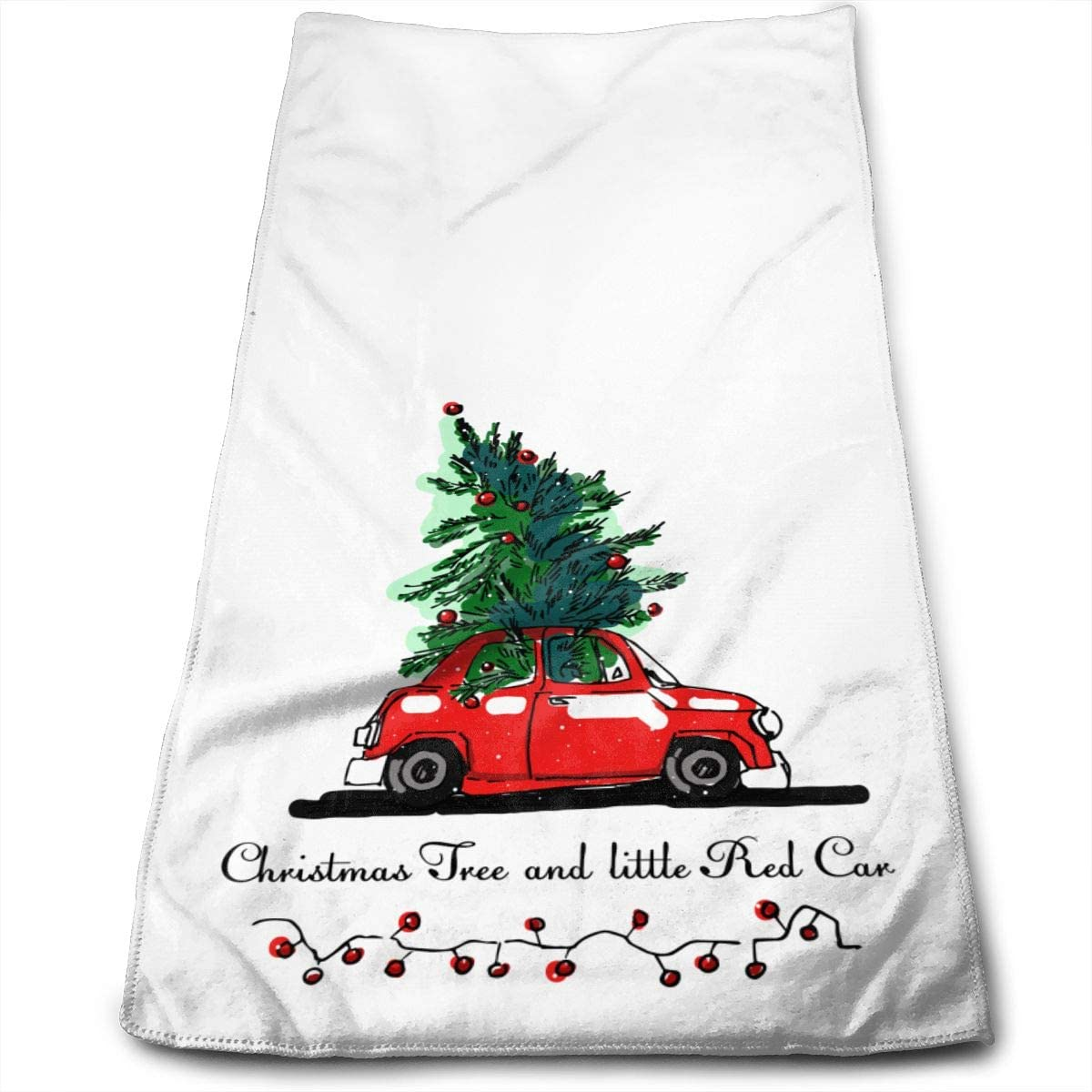 Christmas Tree and Little Red Car Hand Towels for Bathroom,Swimming,Yoga,Gym Soft Absorbent Microfiber Unisex 27.56 X 11.81 in Cartoon Xmas Pine Tree Small Bath Towels