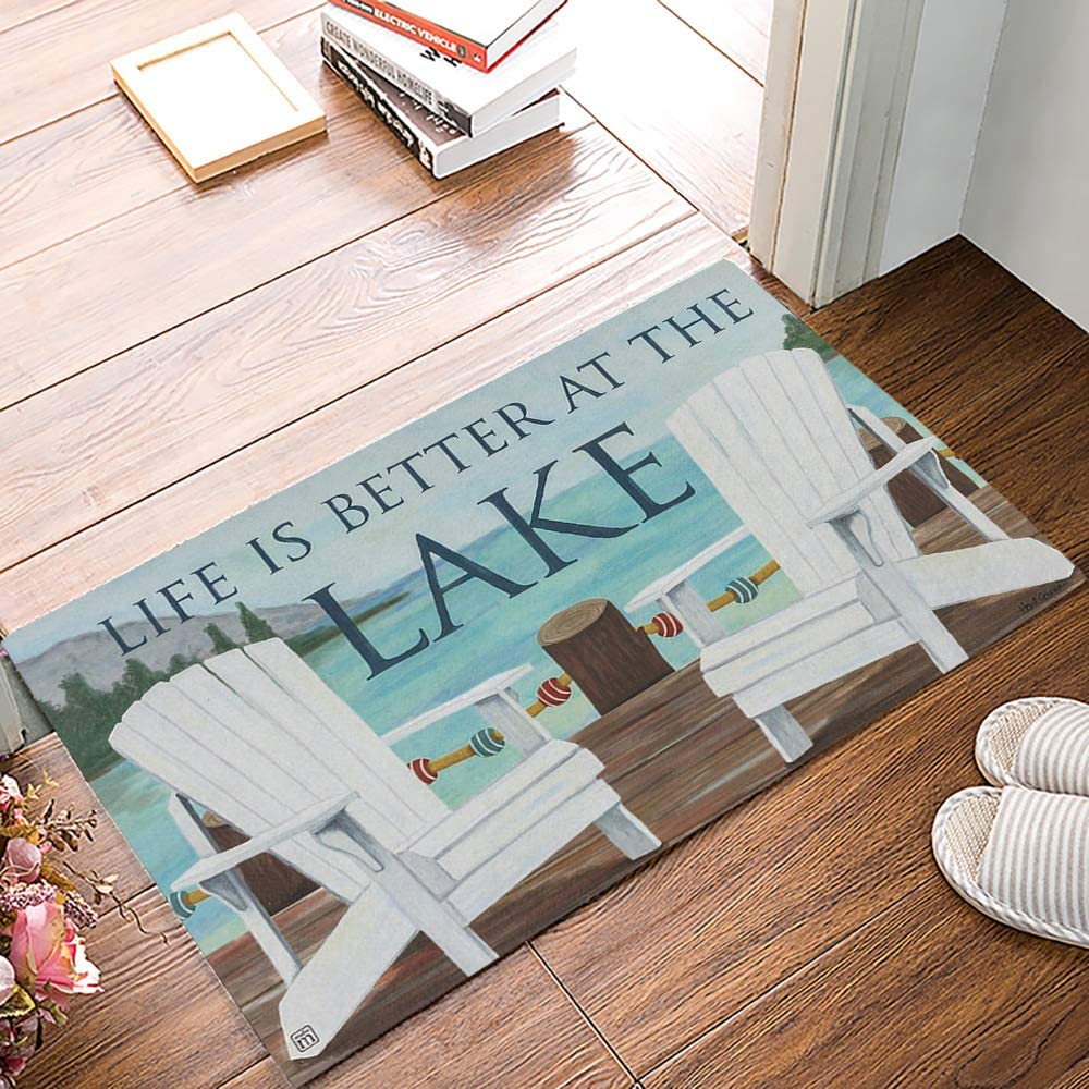 Arts Language Funny Doormats for Entrance Way Indoor Front Door Welcome Rugs Life is Better at The Lake Printed Non-Slip Bath Mat Kitchen Mat Floor Carpet for Bedroom/Office 20x31.5inch