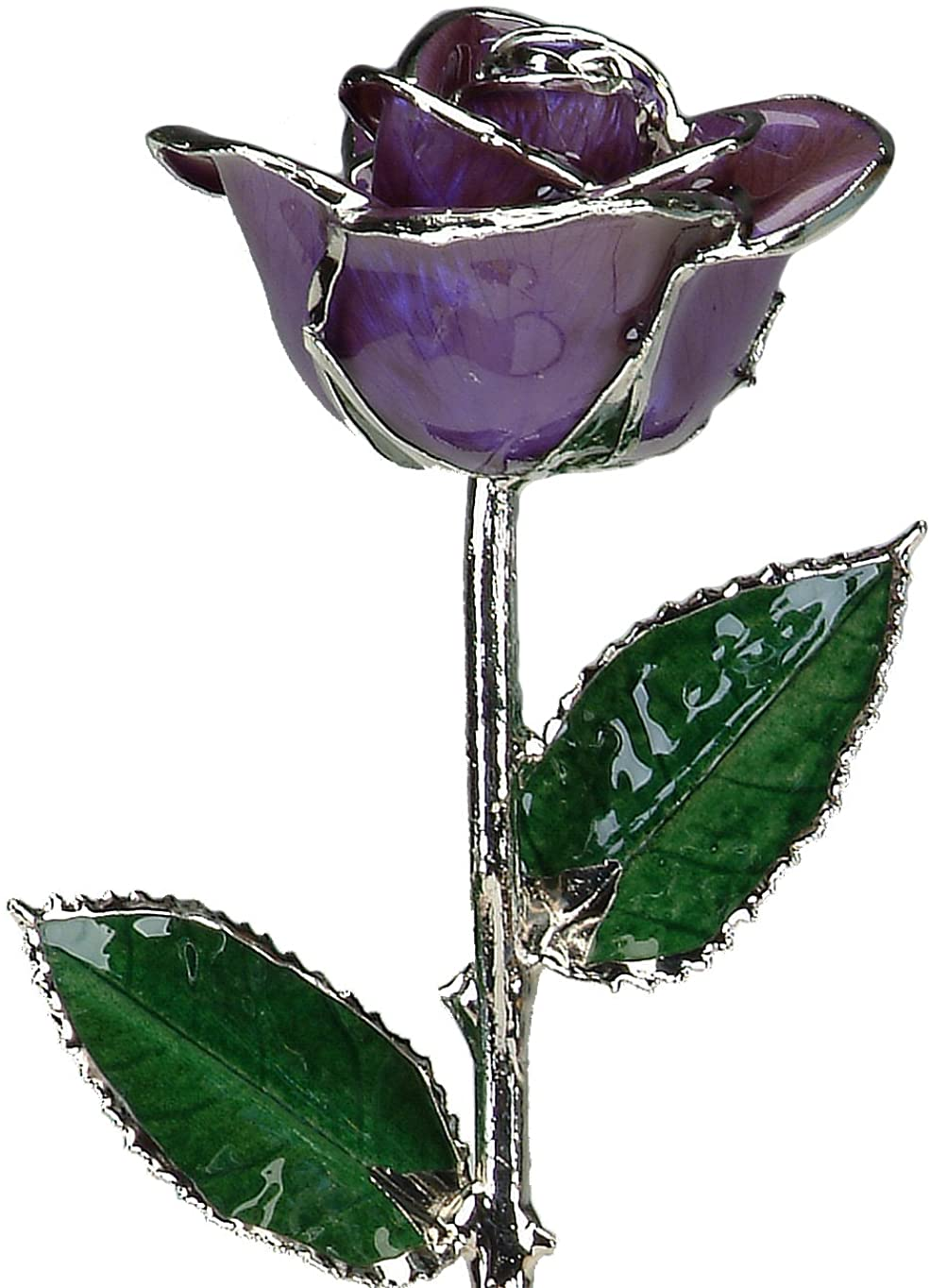 Deep Purple Lacquered Platinum Long Stem Genuine Rose In Gift Box