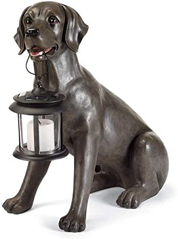 Wind & Weather Dog Solar Statue (Black Lab, Lantern)