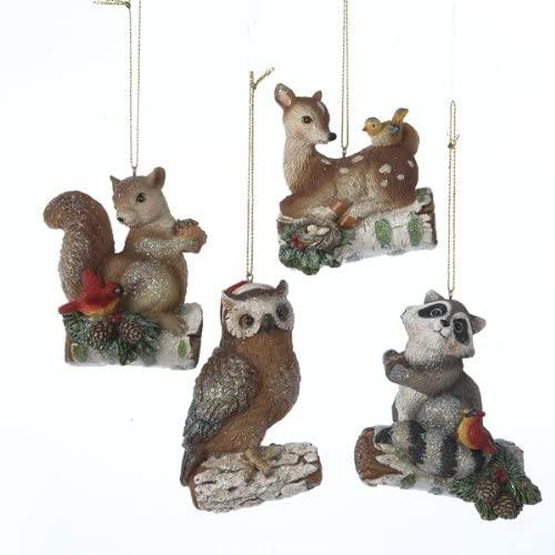 KSA Pack of 12 Enchanted Forest Owl, Deer, Raccoon & Squirrel Woodland Animal Christmas Ornaments 3.25