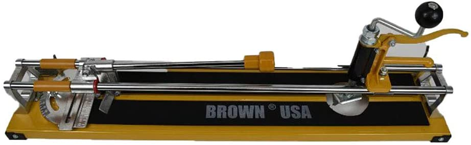 Brown USA BRMTC0026 24 Inch 3 In 1 45 Degree Precise Cut Angle Heavy Duty Rugged Cast Aluminum Frame and Head Tile Cutter, Yellow