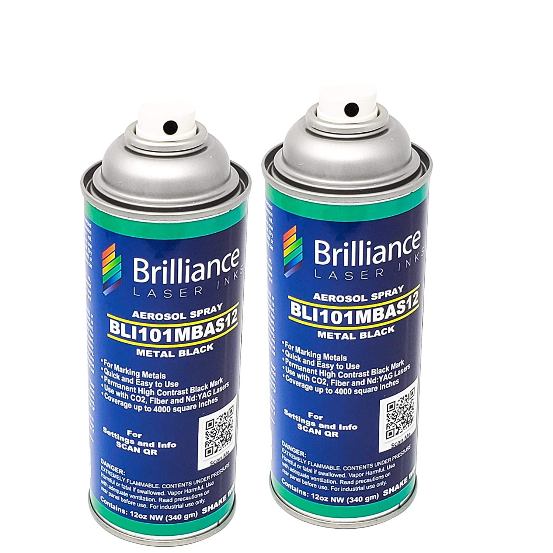 Pack of 2 - BLI101-12 Oz - Aerosol Black Laser Ink for Metals Marking - CO2 Laser - Fiber Laser - YAG, 100% Satisfaction Guarantee, Durable, Permanent, High Contrast, Brilliance Laser Inks