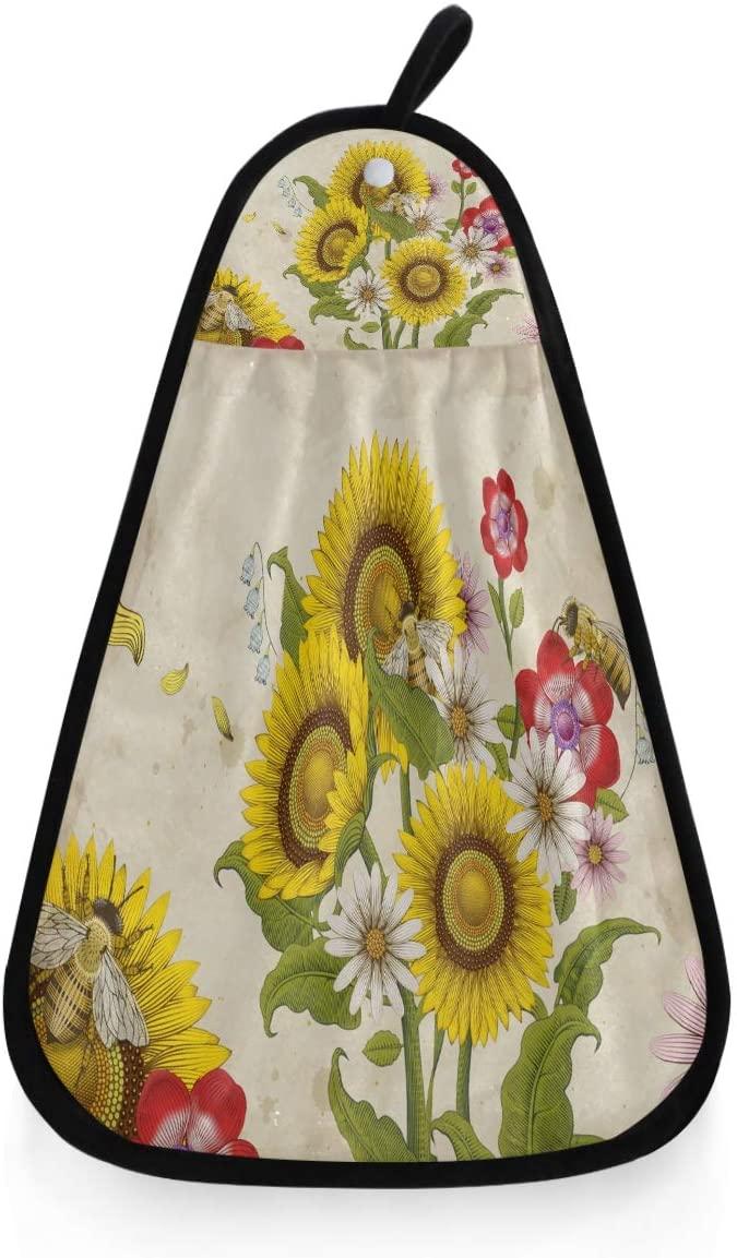Kaariok Vintage Bees Sunflower Flowel Hanging Hand Towel Kitchen Absorbent Dish Loop Cleaning Towel for Bathroom Decor