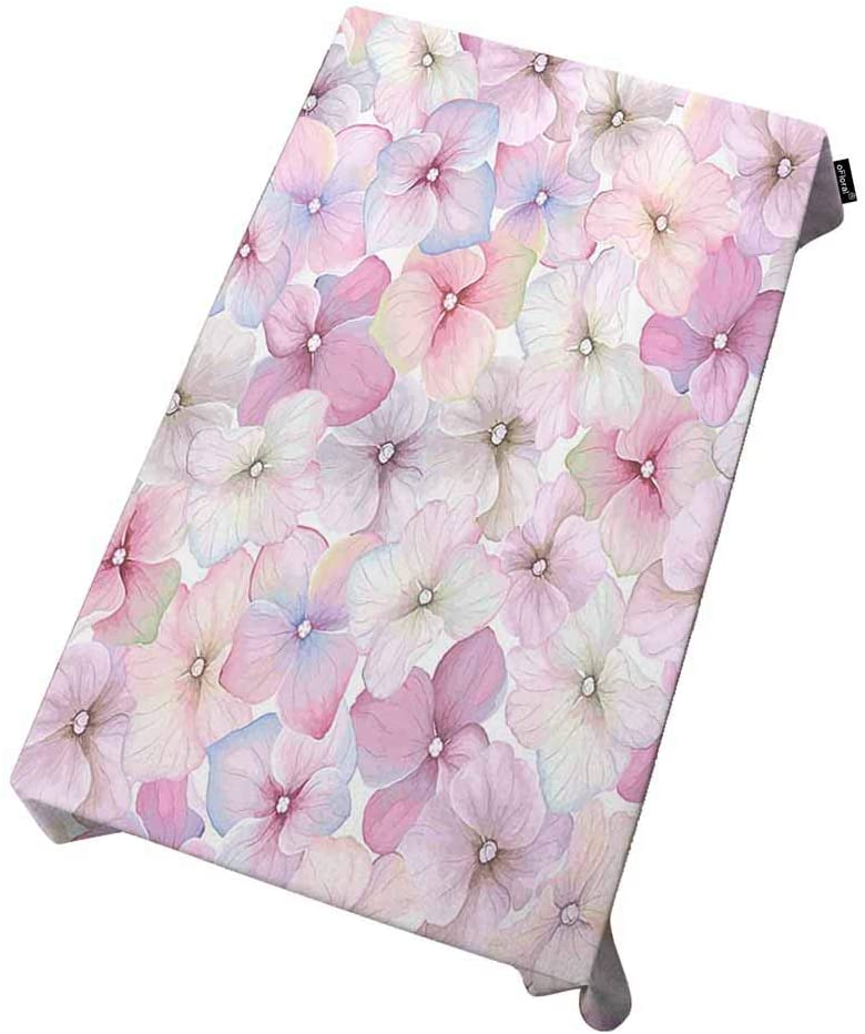 oFloral Tablecloth Inflorescence Hydrangea Oblong/Rectangle Tables in Washable Polyester Vintage Watercolor Randomly Style Kitchen Dining Indoor for Party, Holiday Dinner and Wedding