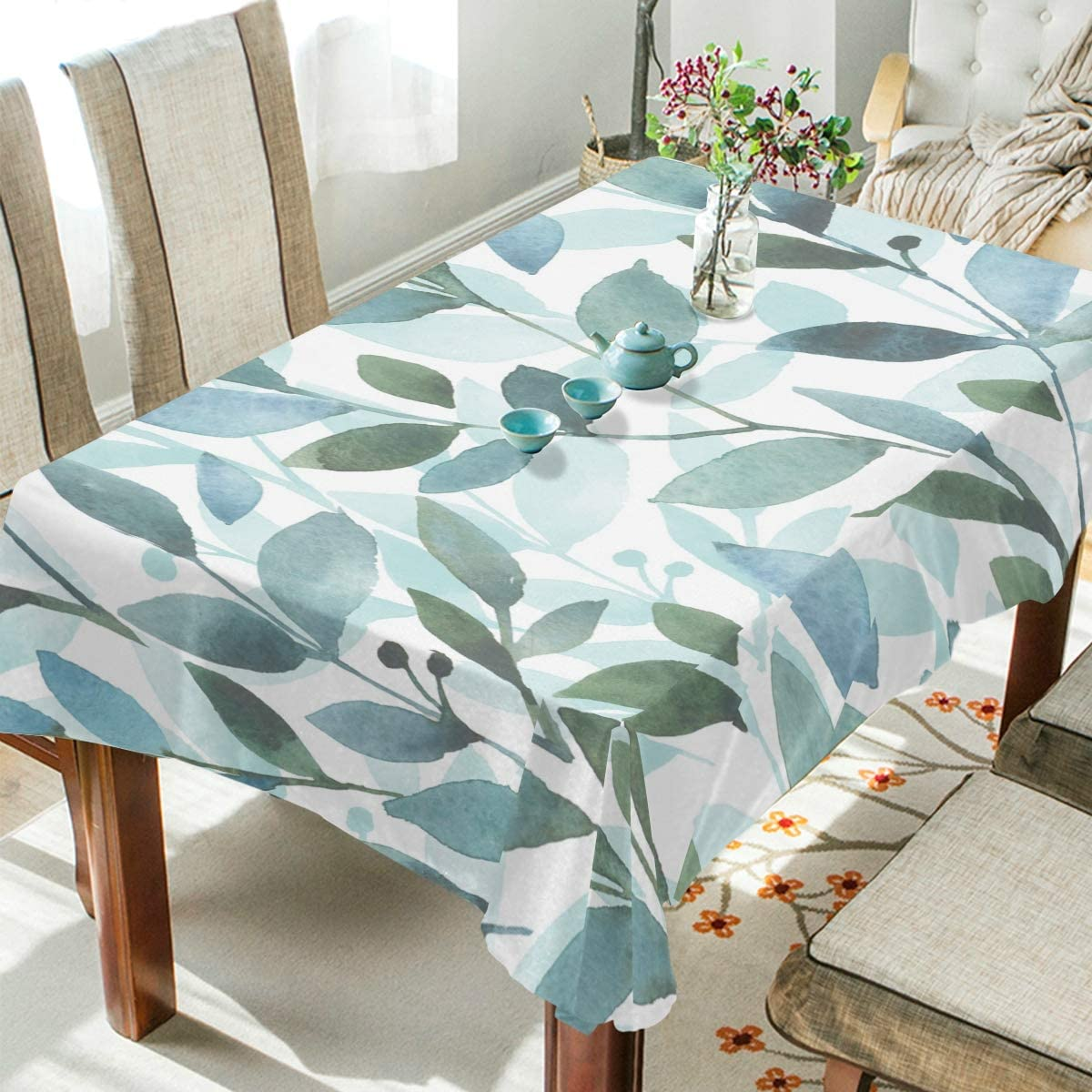 ALAZA Rectangle Tablecloth Watercolor Elegant Leaves Washable Spill Proof Table Cloth Dust-Proof Table Cover for Kitchen Dining Room Party Tablecovers Spread Home Decoration 60 x 90 Inches