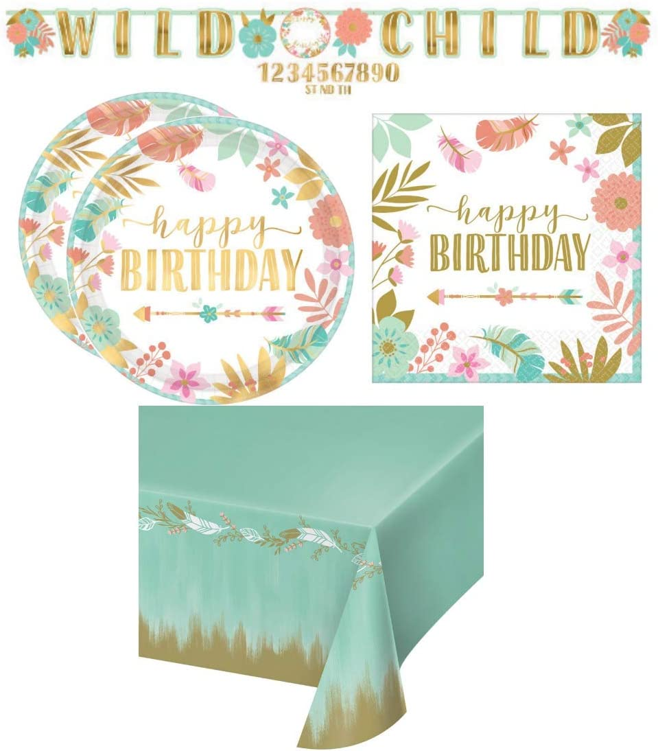 Bohemian Girl Birthday Party Supplies Pack for 16 Guests Including Banner, Table Cover, Dessert Plates, and Lunch Napkins