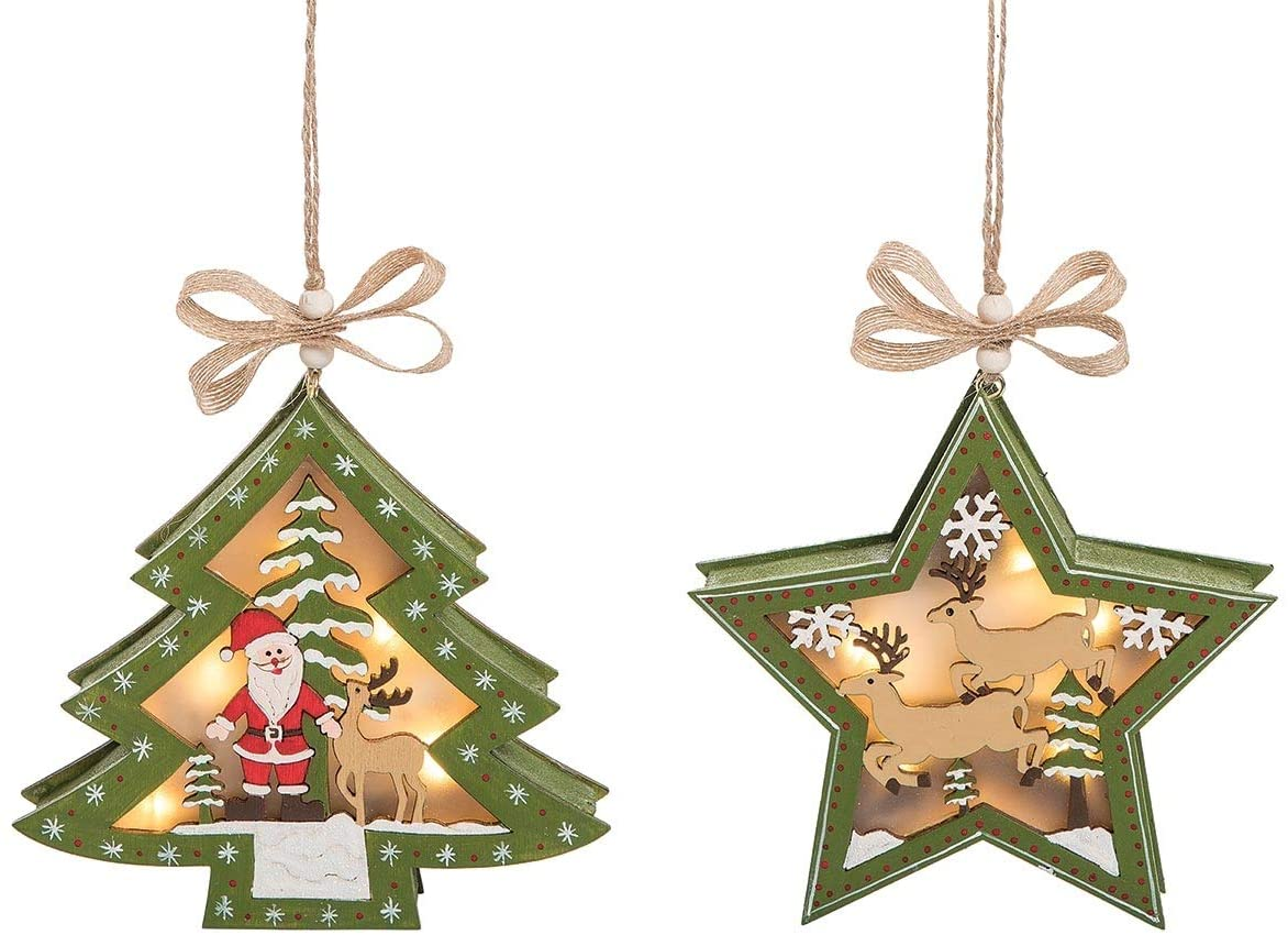 C&F Home Stewart's Winter Village LED Tree Star Forest Green 5.5 Inch Wood Decorative Hanging Christmas Ornaments Set of 2