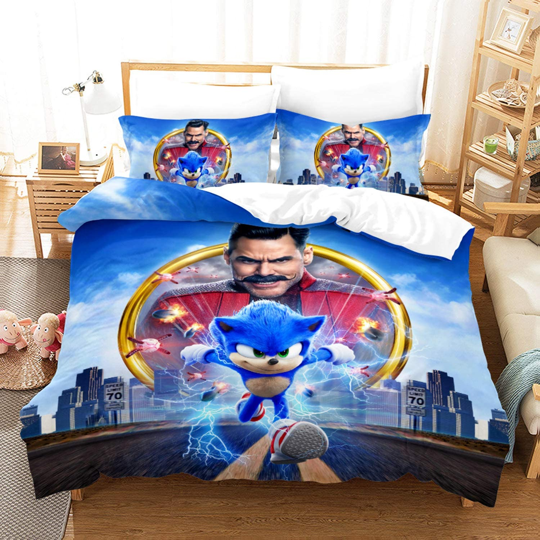 WuliDress Sonic The Hedgehog Bedding Set Twin Size Kids Boys Duvet Cover Sets Soft Microfiber Breathable Comfortable Bedding 1 Duvet Cover 1 Pillow Sham