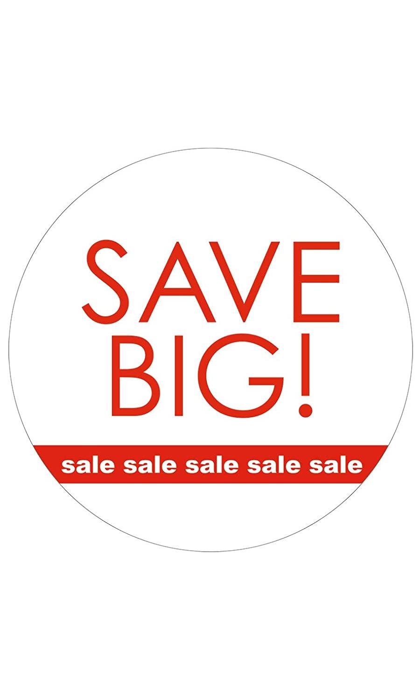 Circle Save Big! Sale, Sale, Sale Sign Cards - 5 1/2 Diameter - Pack of 25