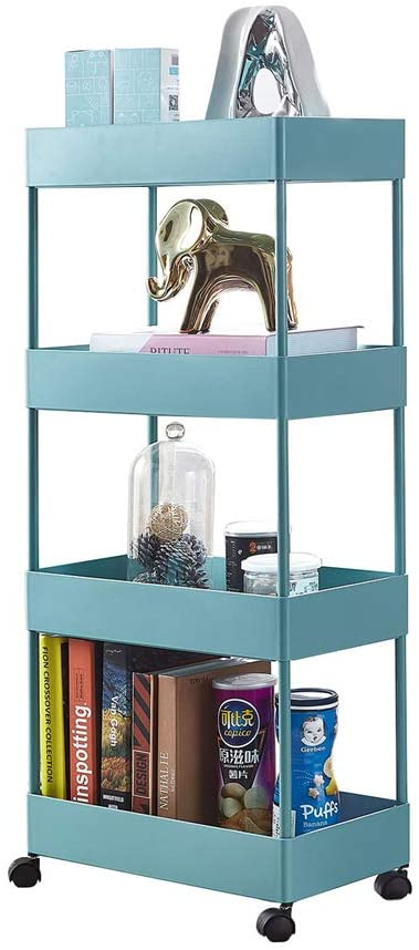 Seasonfall 4 Tier Storage Cart Slim Slide Out Storage Utility Trolley Cart with Wheels Tower Rack Shelf for Kitchen Bathroom Laundry Narrow Places