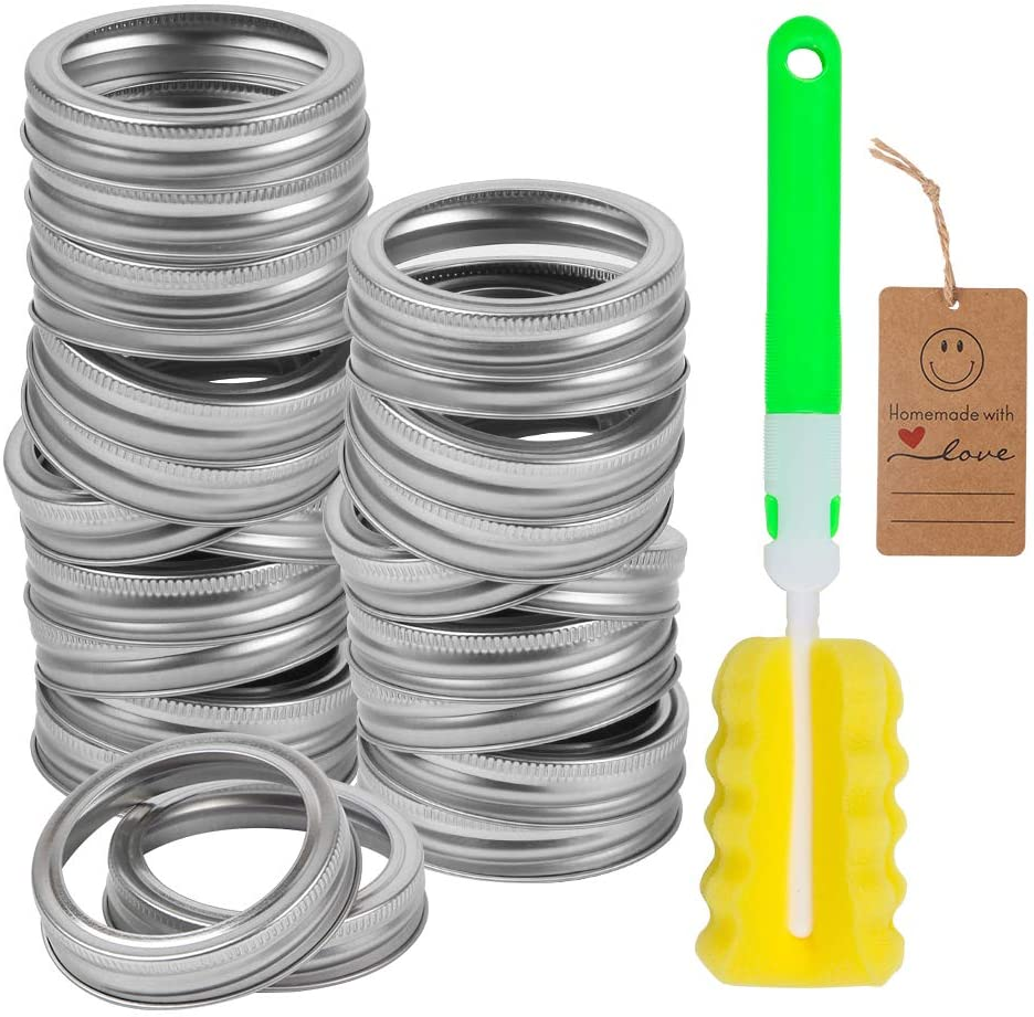 24 Pack Regular Mouth Canning Jar Replacement Metal Rings, Leak Proof Tinplate Metal Screw Bands Rings, Compatible with Mason Jar