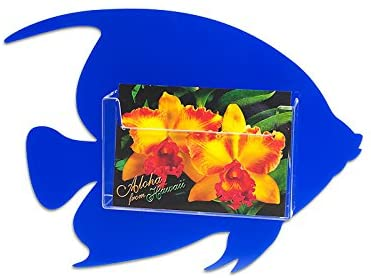 Source One Clear Fish Postcard Holder Display Rack (1 Pack, Blue WM)