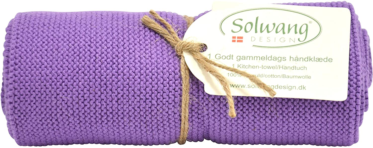 Solwang Danish Cotton in 100% Eco-Tex Certified or GOTS Certified Kitchen Hand Towels Made in India (Organic Purple GOTS)