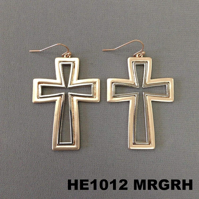 Earrings - Jewelry - for Women - Elegant - Double Outline Religious Rose Gold Silver Cross Design