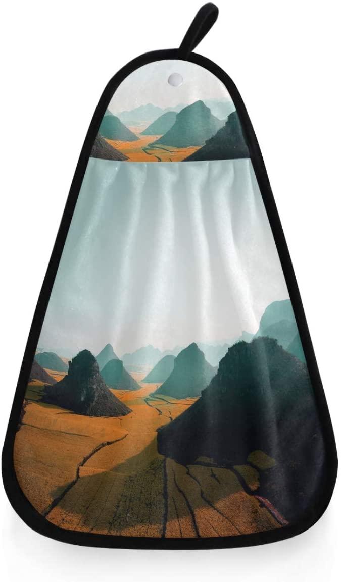 Kaariok 3D Mountain Orange Field Landscape Hanging Hand Towel Kitchen Absorbent Dish Loop Cleaning Towel for Bathroom Decor