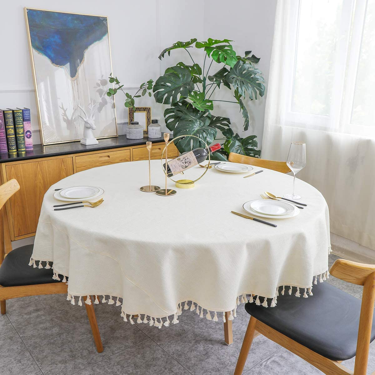 NEKKA Round Tablecloth, Decorative Solid Color Table Cover, Cotton Linen Tassel Desk Cover for Kitchen Dining Tabletop Decoration, Diameter 70