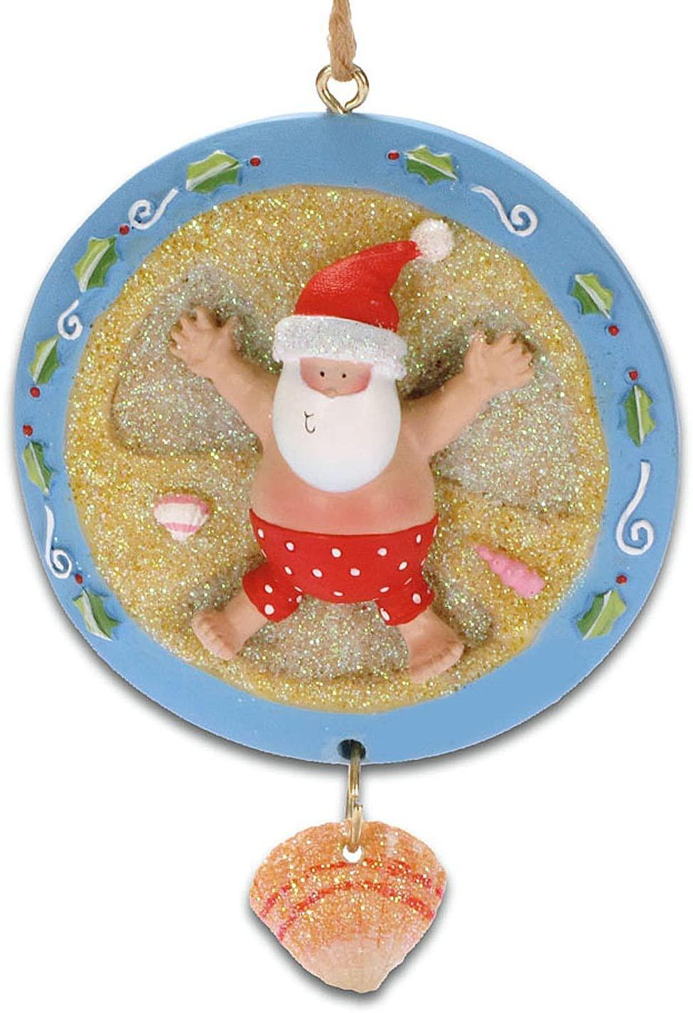 Cape Shore Beachy Santa Making a Sand Angel Christmas Holiday Ornament