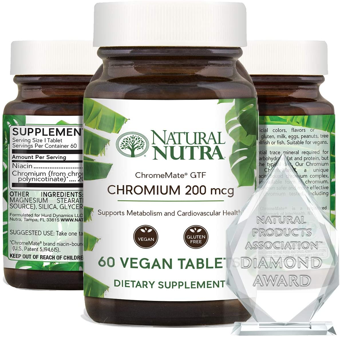 Natural Nutra GTF Chromium Polynicotinate with ChromeMate®, Niacin Bound, Diabetic, Blood Sugar, Weight Loss Vitamin, Supports Metabolism and Cardiovascular Health, 200 mcg, 60 Vegan Tablets