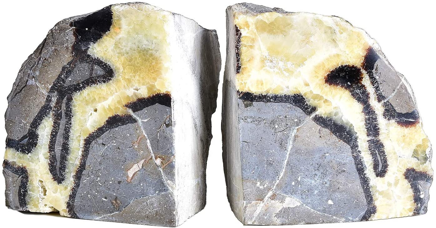 AMOYSTONE Septarium Crystal Bookends for Heavy Books Decorative Stone Book Ends Non Skid Shelves Decor 1 Pair 4-6LBS