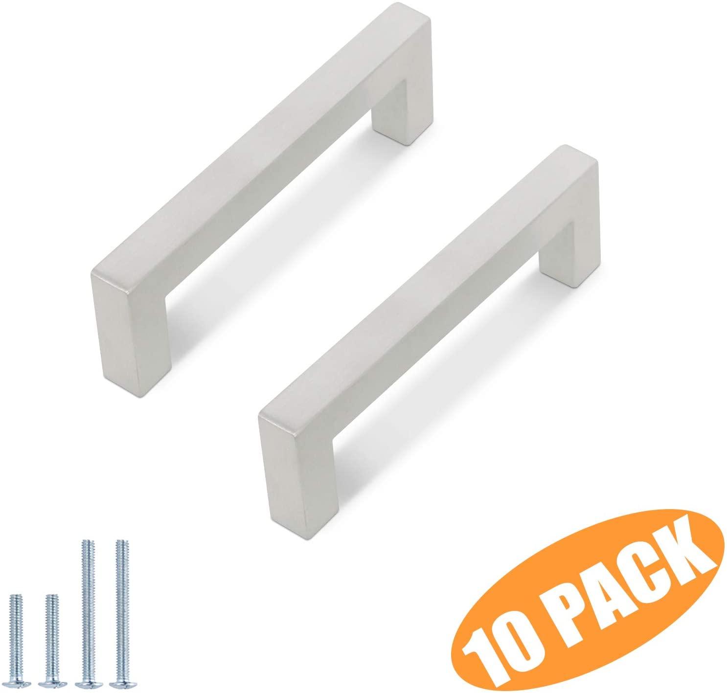 (10 Pack) Probrico 4 Inch Modern Square Cabinet Handles Pulls Stainless Steel,T Bar Satin Nickel Handle Pull for Drawer Dresser Cupboard Wardrobe Bathroom Vanity,Kitchen Furniture Hardware