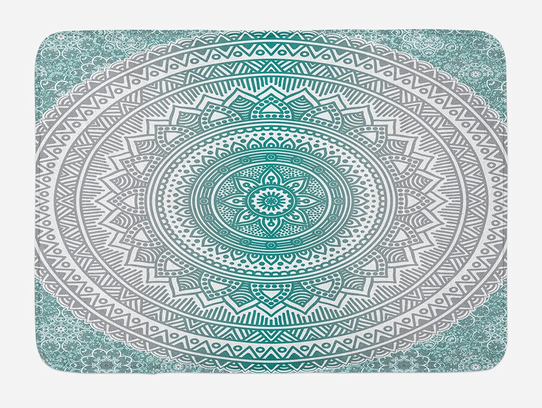 Ambesonne Grey and Teal Bath Mat, Mandala Ombre Design Space Geometric Center Point Boho Meditation Art, Plush Bathroom Decor Mat with Non Slip Backing, 29.5