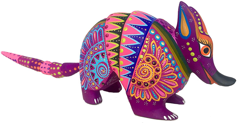 Alkimia Inc Mexican Alebrije Armadillo Wood Carving Handcrafted Sculpture (Purple)