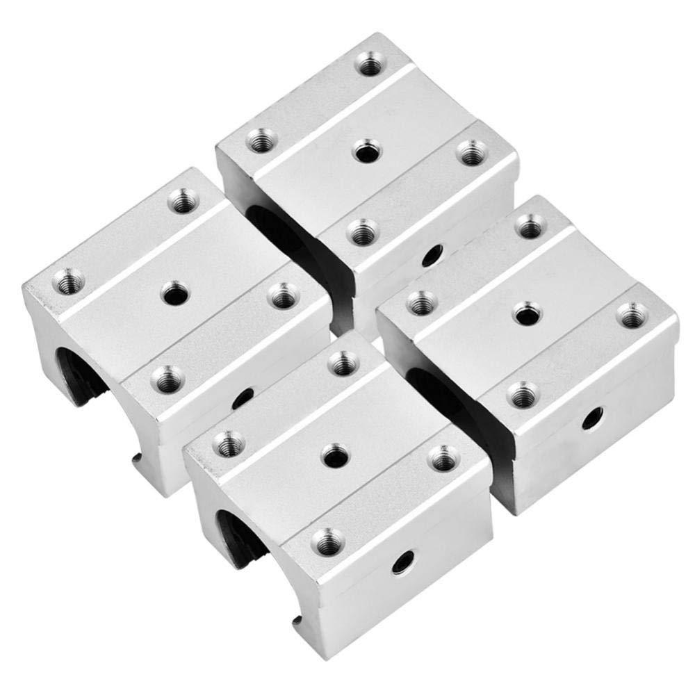 Linear Bearing Slide Block,4Pcs SBR16UU 16mm Aluminum Alloy Linear Motion Ball Bearing Slide Block for Transmission Device