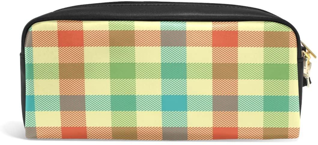 ALAZA Rainbow Color Plaid Check PU Leather Pen Pencil Case Pouch Case Makeup Cosmetic Travel School Bag