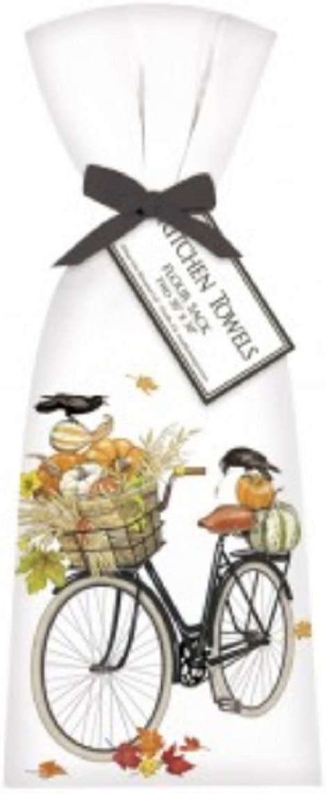 Mary Lake Thompson 2 Pumpkin Bike Ribbon Tied Flour Sack Towels T127 30 Inches Square